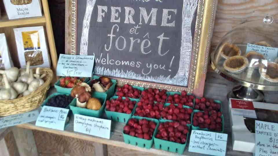 Marché de fruits et légumes framboises Ferme et Forêt Wakefield Ulocal produit local achat local