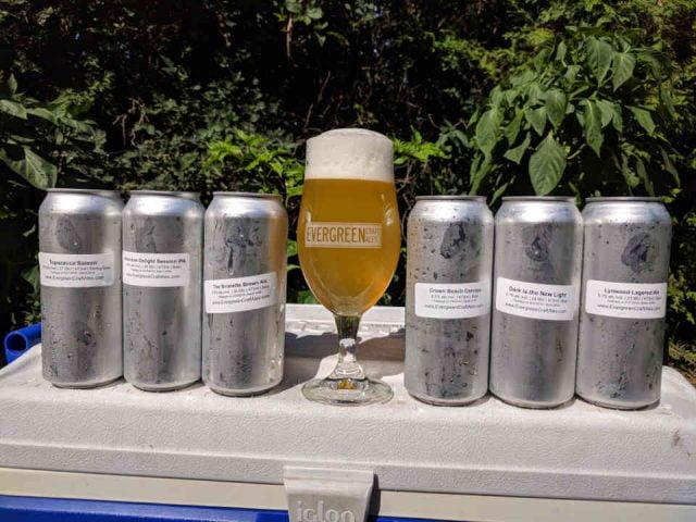 Microbrasserie canettes et verre bière Evergreen Craft Ales Ottawa Ulocal produit local achat local