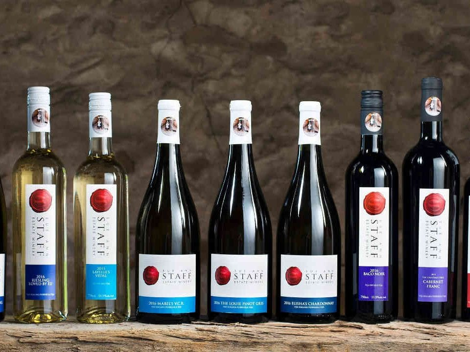 Vineyard bottles of wine Sue-Ann Staff Estate Winery Lincoln Ulocal Local Product Local Purchase