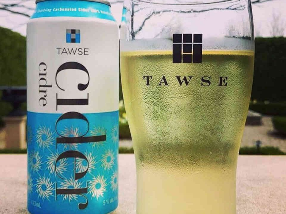 Vineyard can and glass of cider Tawse Winery Lincoln Ulocal local product local purchase