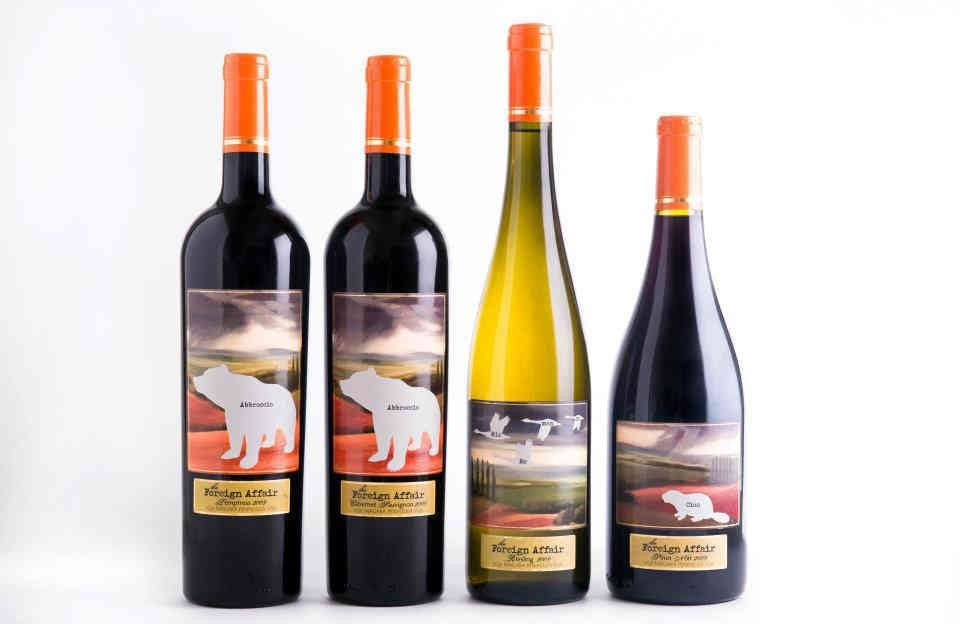 Vineyard wine bottles The Foreign Affair Winery Lincoln Ulocal local product local purchase