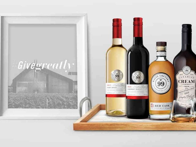 Vignoble bouteilles de vin et de whisky Wayne Gretzky Estates Winery & Distillery Niagara-on-the-Lake Ontario Canada Ulocal produit local achat local