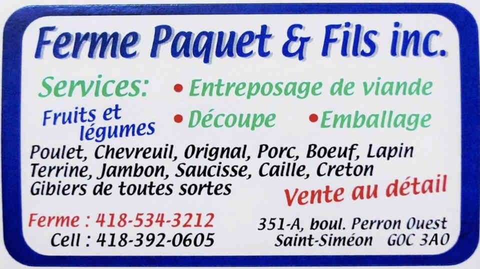 Fruits and Vegetables Meat Sales Farm Paquet & Fils Saint-Siméon-de-Bonaventure Quebec Canada Ulocal local produce local produce local purchase