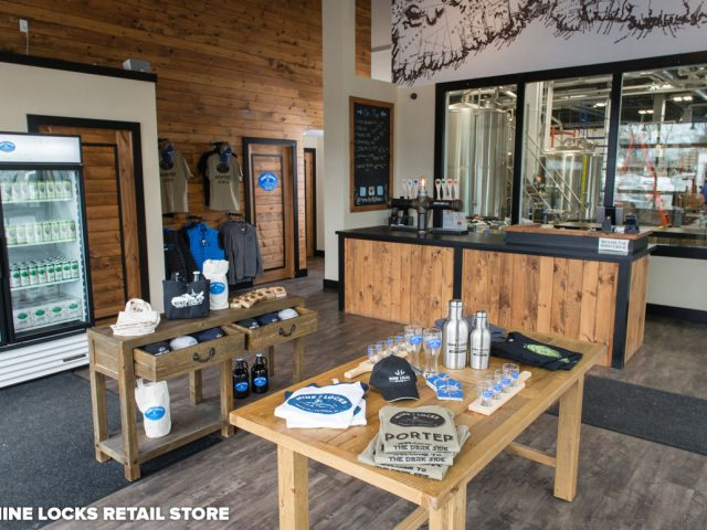 microbreweries boutique interior, soap t-shirt glasses draft beer thermos nine locks brewing co dartmouth nova scotia canada ulocal local products local purchase local produce locavore tourist