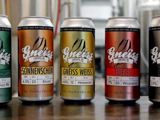 Microbrewery beer cans Gneiss Brewing Company Limerick Maine United States Ulocal Local Product Local Purchase