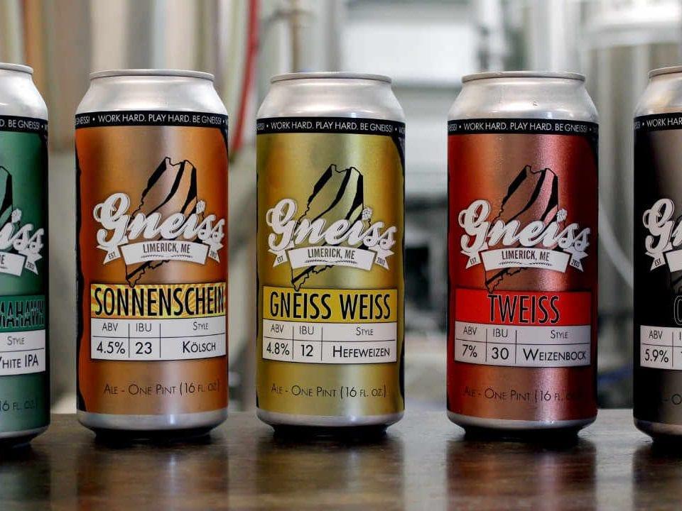 Microbrasserie canettes de bière Gneiss Brewing Company Limerick Maine États-Unis Ulocal produit local achat local