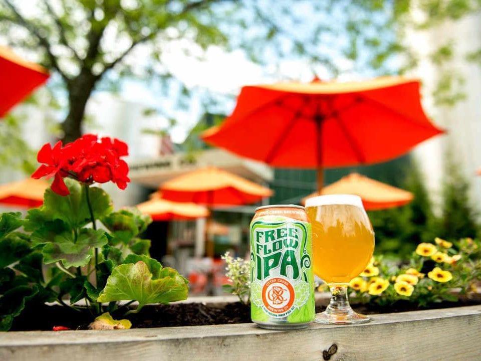 Microbrasserie canette et verre de bière Otter Creek Brewing Co. Middlebury Vermont États-Unis Ulocal produit local achat local