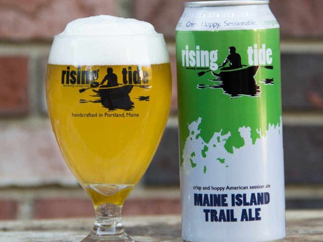 Microbrewery Glass and Beer Can Rising Tide Brewing Company Portland Maine United States Ulocal Local Product Local Purchase