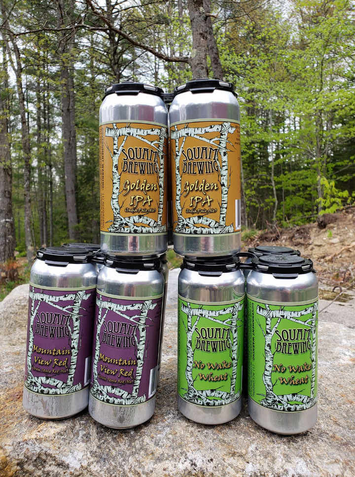 Microbrewery beer cans Squam Brewing Holderness New Hampshire United States Ulocal Local Product Local Purchase