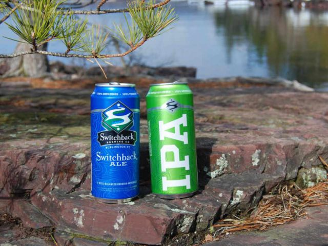 Microbrewery cans of beer Switchback Brewing Co Burlington Vermont USA Ulocal Local Product Local Purchase