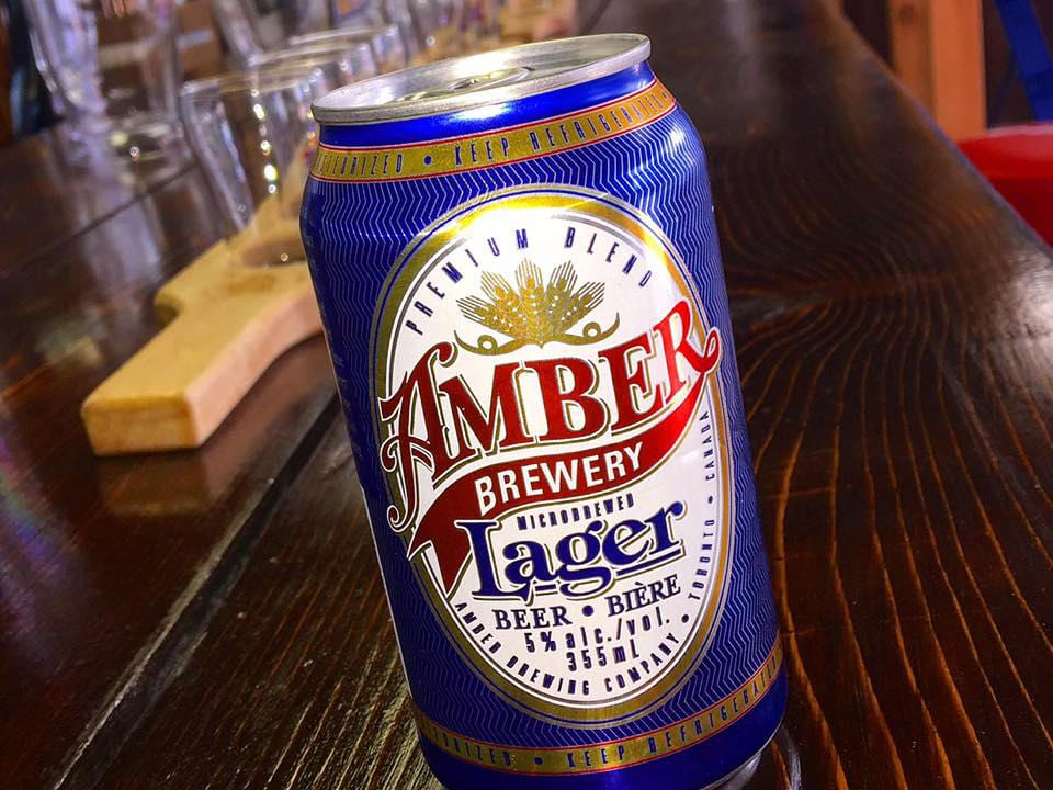 microbreweries can of beer amber lager on bar amber brewery markham ontario canada ulocal local products local purchase local produce locavore tourist