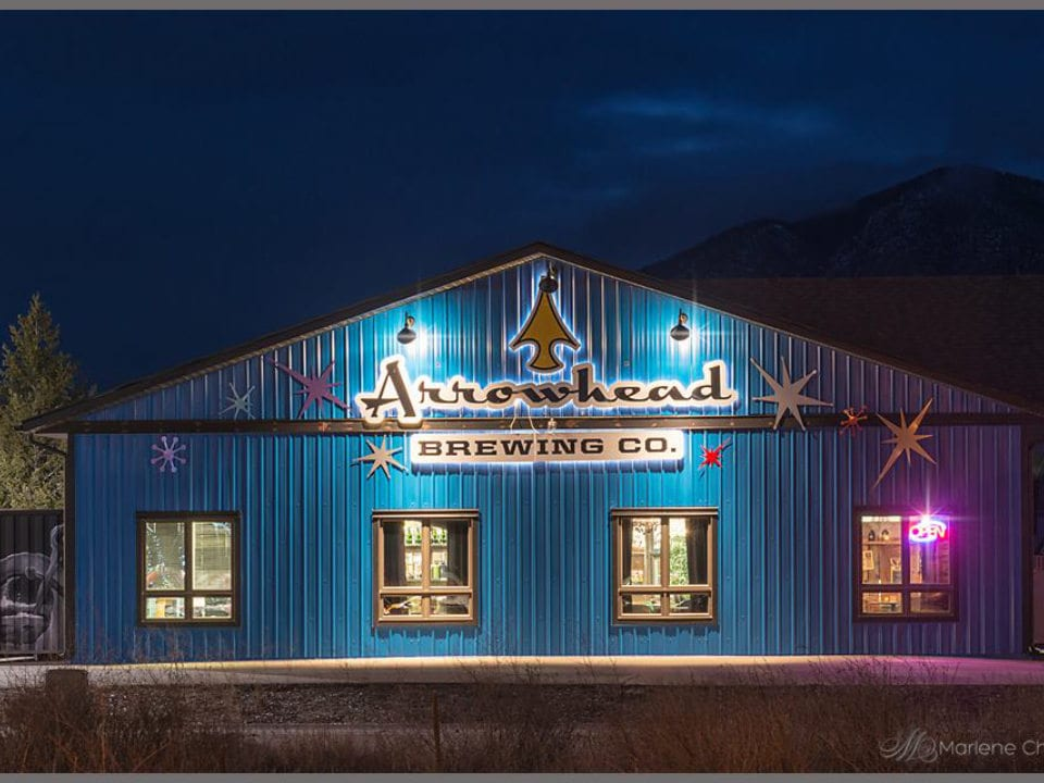 microbreweries exterior facade of the brewery at night arrowhead brewing company invermere british columbia canada ulocal local products local purchase local produce locavore tourist