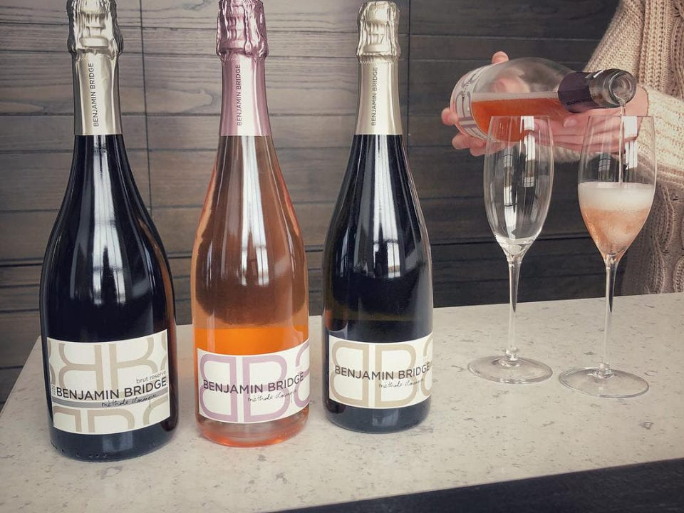 vineyard bottle sparkling bubbly riesling wine rosé champagne benjamin bridge windsor nova scotia canada ulocal local products local purchase local produce locavore tourist