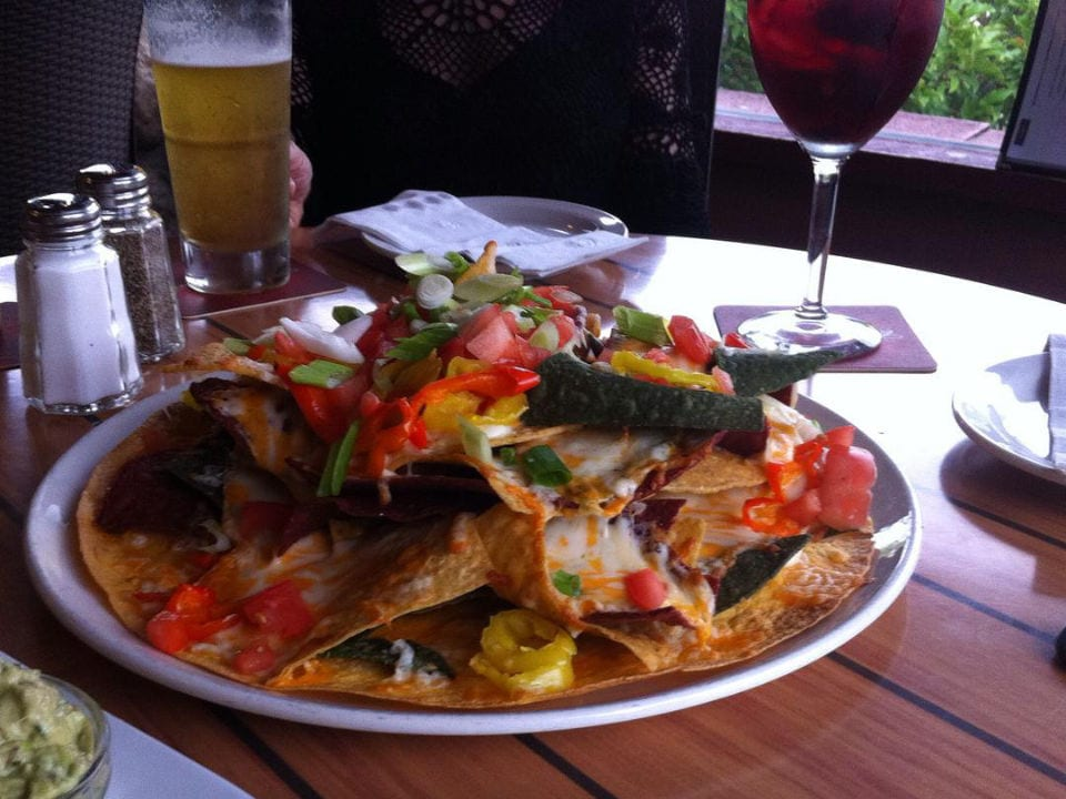 restaurant nachos plate beer red wine black bear neighbourhood pub north vancouver british columbia canada ulocal local products local purchase local produce locavore tourist