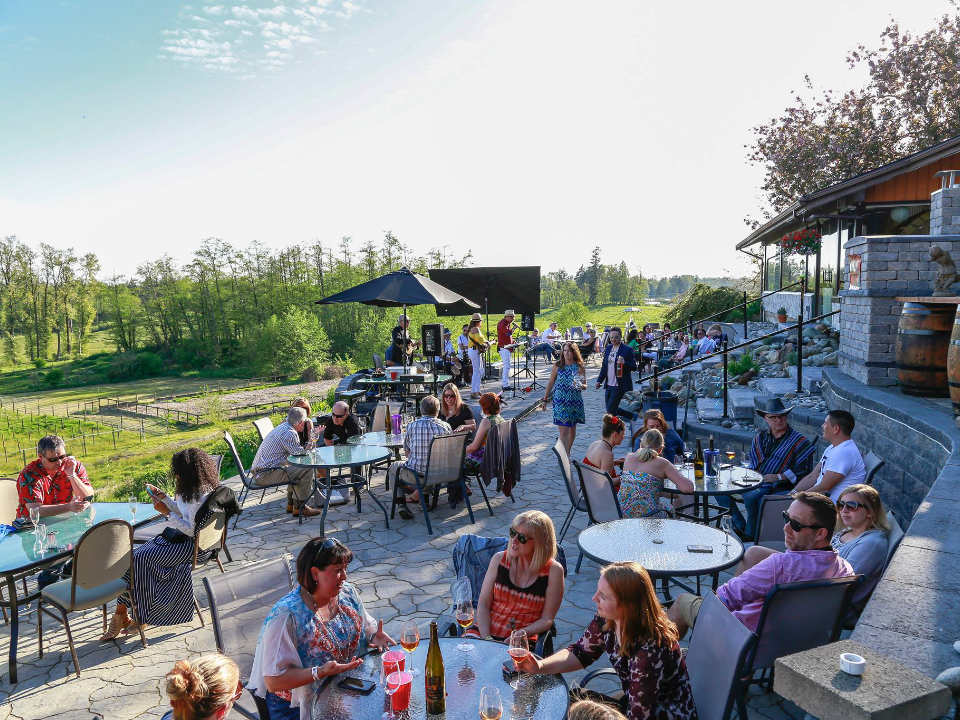 vignoble terrasse remplie de gens qui profitent du patio avec vue sur la nature blackwood lane vineyards and winery aldergrove colombie britannique canada ulocal produits locaux achat local produits du terroir locavore touriste