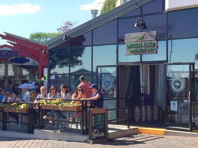 microbreweries people having drink outdoor patio terrace green leaf brewing company north vancouver british columbia canada ulocal local products local purchase local produce locavore tourist