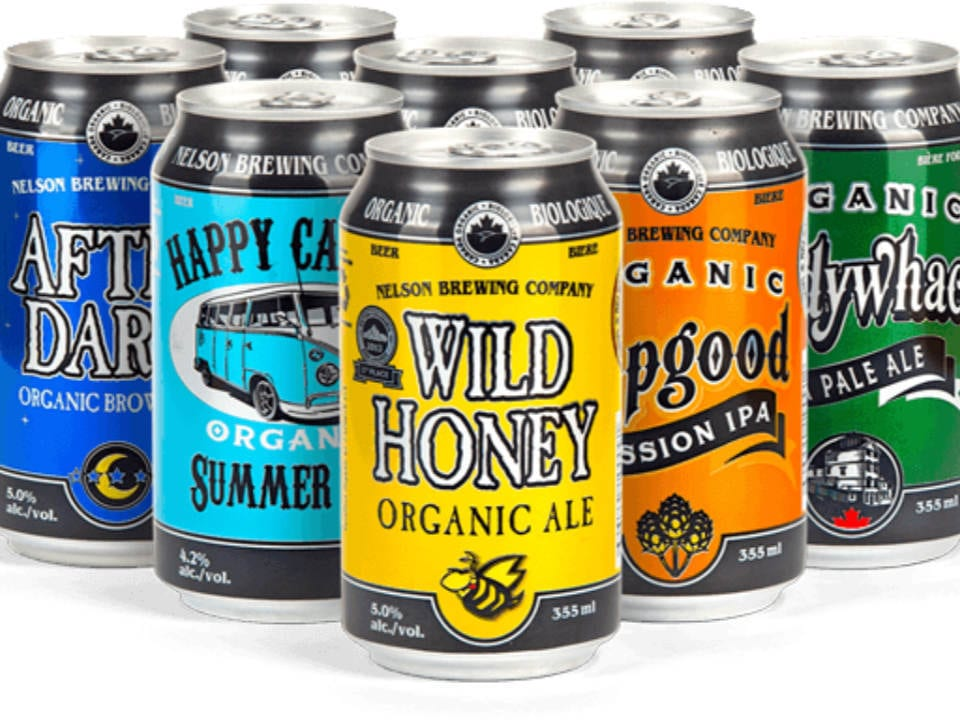 microbreweries 8 cans of organic craft beer of different kinds nelson brewing company nelson british colombia canada ulocal local products local purchase local produce locavore tourist