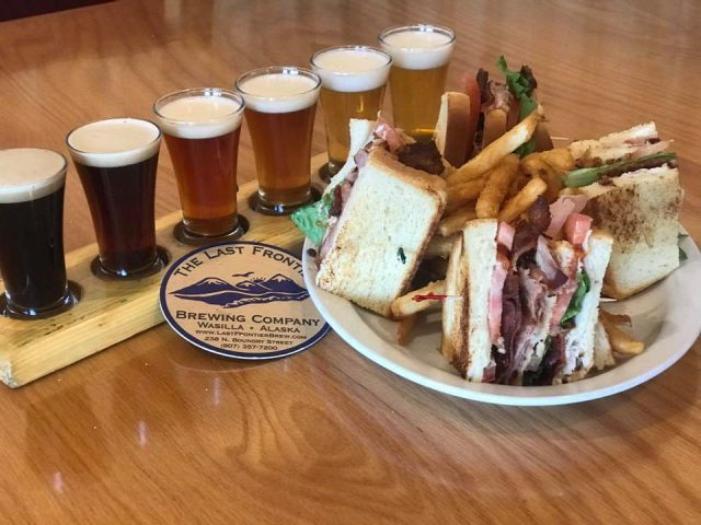 microbreweries club combo ham turkey and bacon lettuce tomatoes with a flights of 6 craft beers the last frontier brewing company wasilla alaska united states ulocal local products local purchase local produce locavore tourist