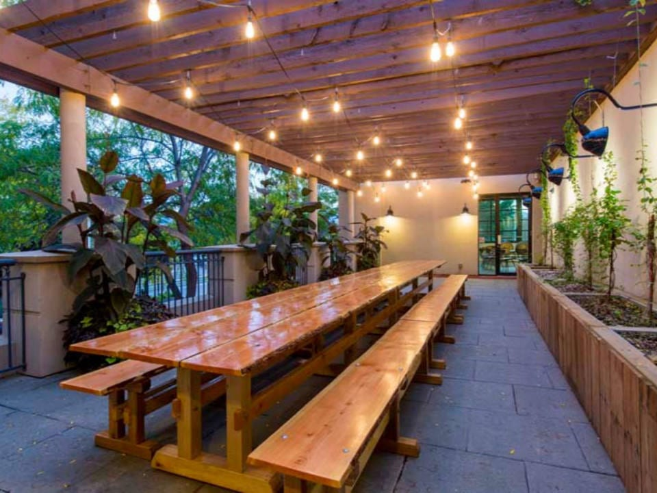 microbreweries nice patio with long wood table lights flowers and trees tree brewing beer institute kelowna british columbia canada ulocal local products local purchase local produce locavore tourist