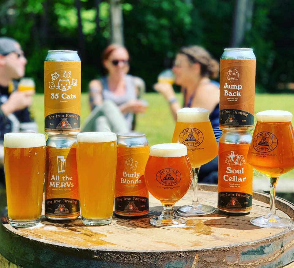 Microbrasserie canettes et verres de bière Bog Iron Brewing Norton Massachusetts États-Unis Ulocal produit local achat local