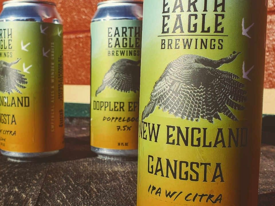 Microbrewery beer cans Earth Eagle Brewings Portsmouth New Hampshire United States Ulocal Local Product Local Purchase