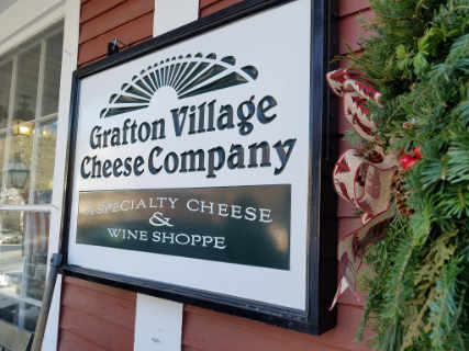 Cheese factory sign Grafton Village Cheese Company Brattleboro Vermont USA Ulocal Local Product Local Purchase