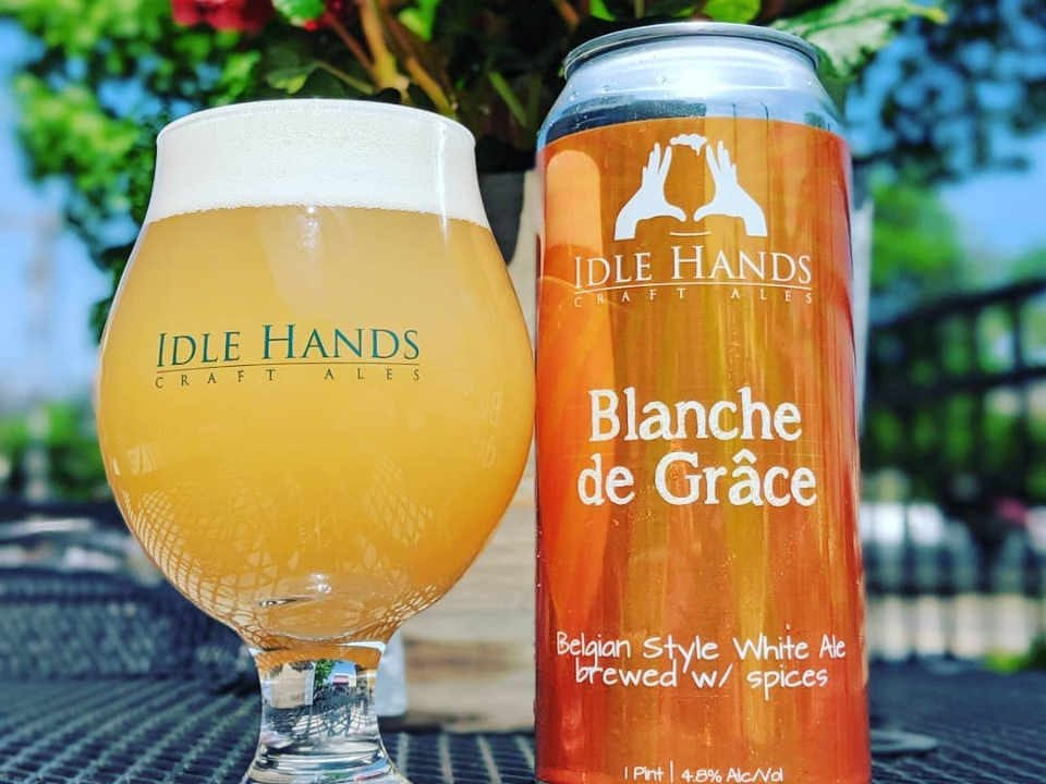 Microbrewery glass and beer can Idle Hands Craft Ales Malden Massachusetts United States Ulocal Local Product Local Purchase