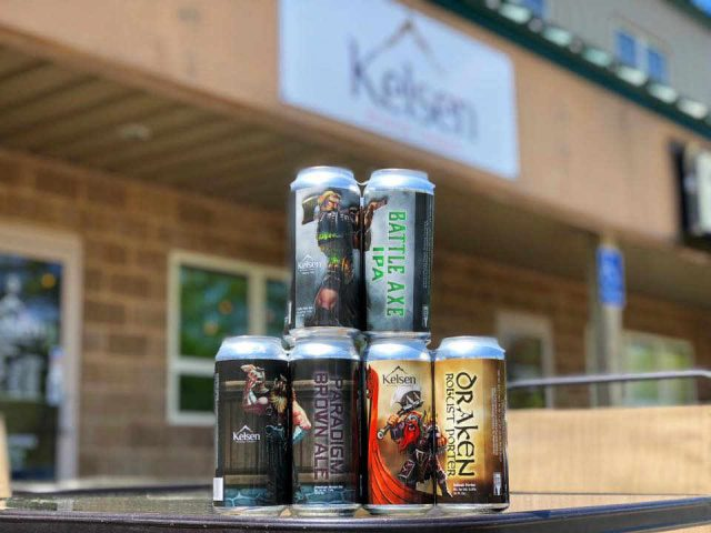Microbrewery beer cans Kelsen Brewing Company Derry New Hampshire USA Ulocal Local Product Local Purchase