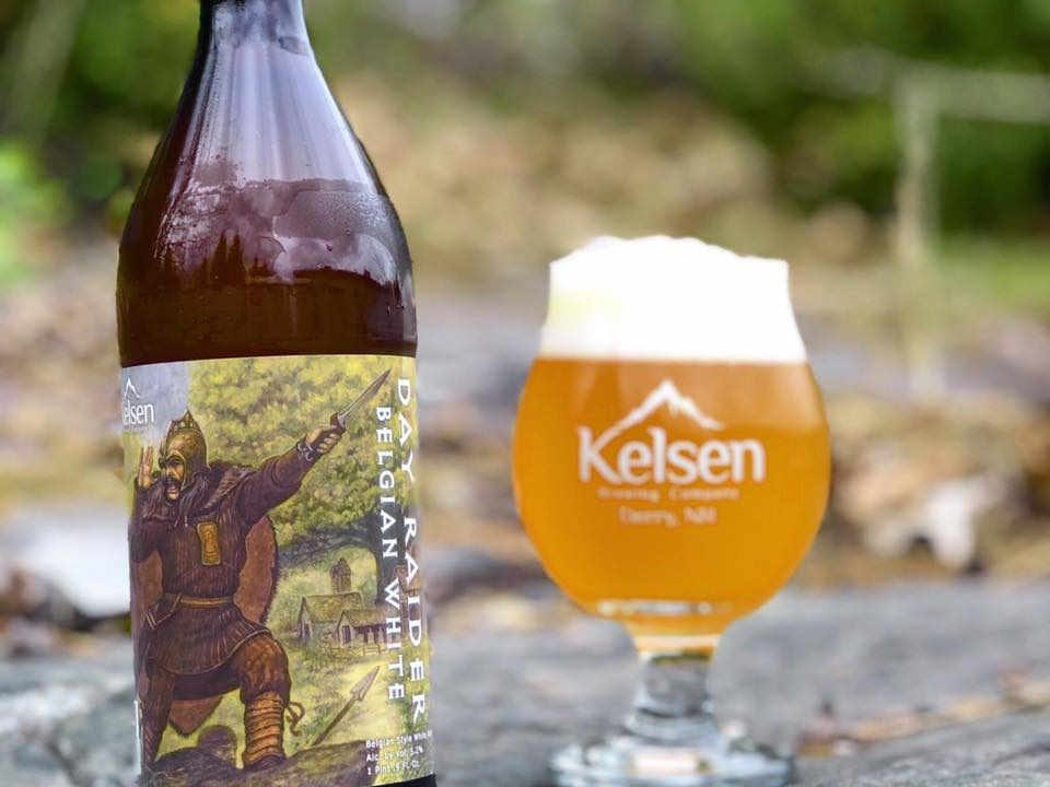 Microbrewery beer bottle and glass Kelsen Brewing Company Derry New Hampshire USA Ulocal Local Product Local Purchase