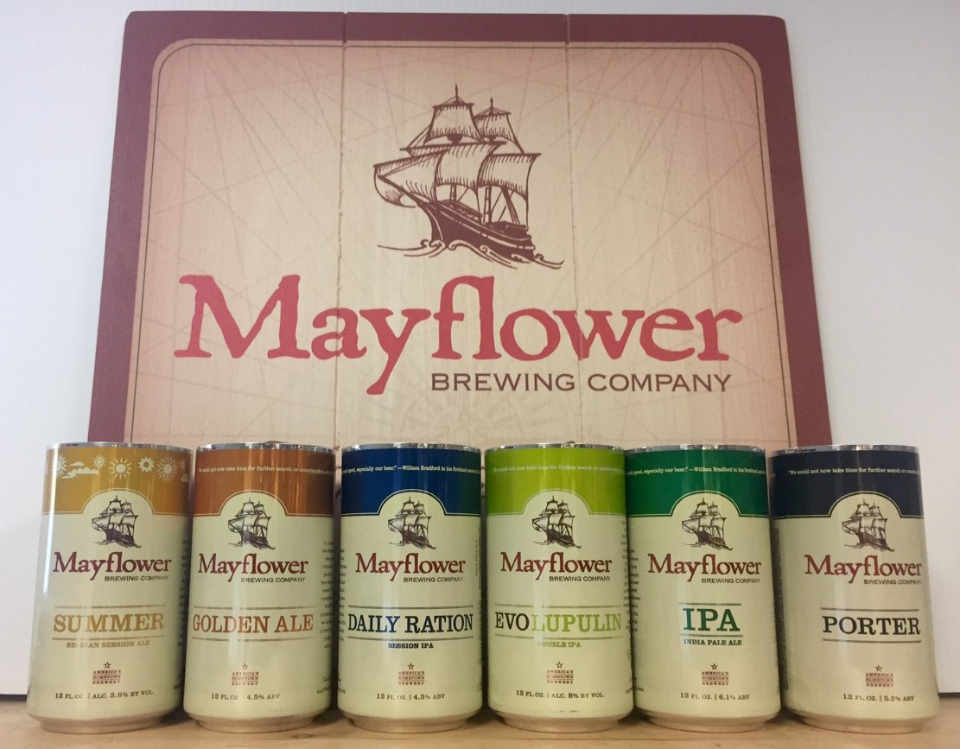 Microbrewery beer cans Mayflower Brewing Company Plymouth Massachusetts United States Ulocal Local Product Local Purchase