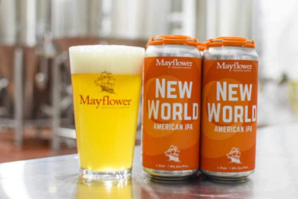 Microbrewery glass and beer cans Mayflower Brewing Company Plymouth Massachusetts United States Ulocal Local Product Local Purchase