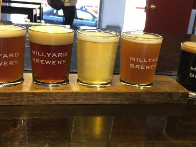 Microbrewery beer glasses Millyard Brewery Nashua New Hampshire United States Ulocal Local Product Local Purchase
