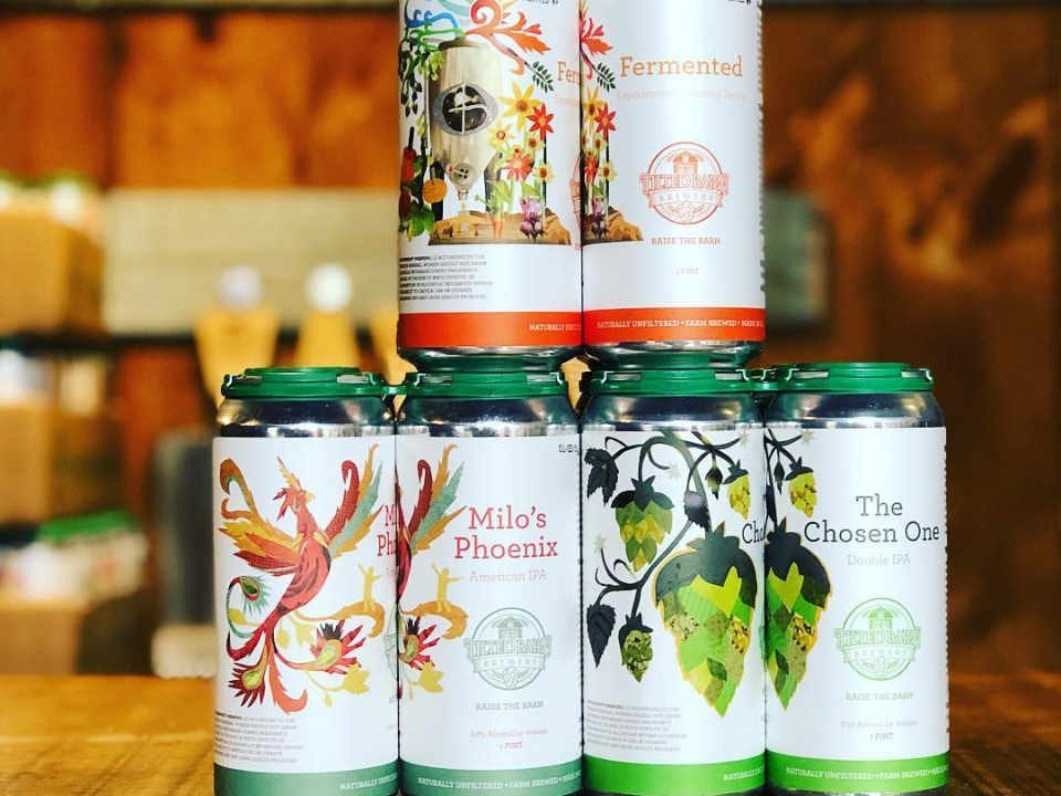 Microbrewery beer cans Tilted Barn Brewery Exeter Rhode Island United States Ulocal Local Product Local Purchase