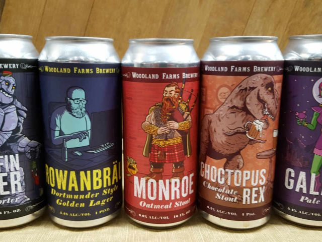 Microbrewery beer cans Woodland Farms Brewery Kittery Maine United States Ulocal Local Product Local Purchase