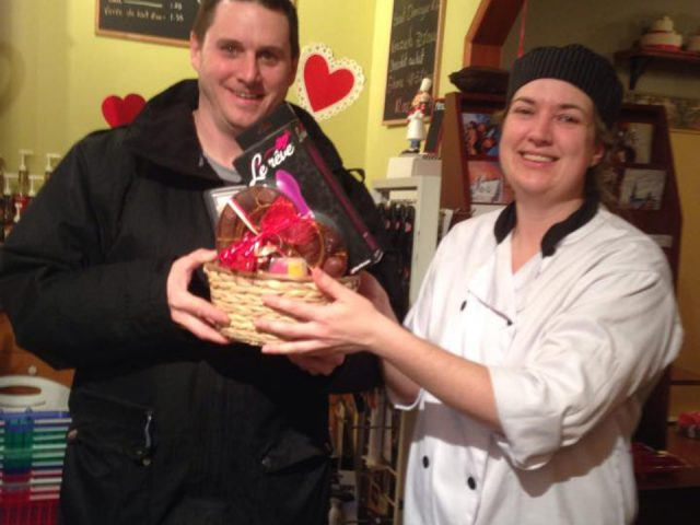 chocolate factories homemade chocolates basket given to the winner by the owner aux 3 chocolats saint-rémi quebec canada ulocal local products local purchase local produce locavore tourist