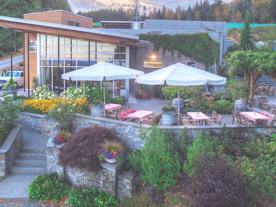 vineyard building and terrace for tastings with beautiful nature averill creek vineyard duncan british colombia canada ulocal local products local purchase local produce locavore tourist