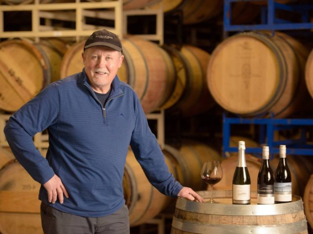 vineyard andy johnston owner and general manager waiting for you for a tasting cedar casks in the background averill creek vineyard duncan british colombia canada ulocal local products local purchase local produce locavore tourist