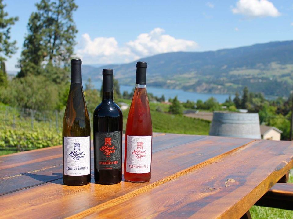 vignoble 3 bouteilles de différents vins sur une table avec vue sur le vignoble et le lac en bas blind tiger vineyards lake country colombie britannique canada ulocal produits locaux achat local produits du terroir locavore touriste