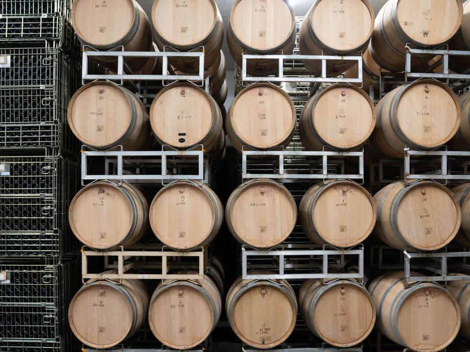vignoble les futurs millésimes en devenir dans tonneaux de cèdre blue mountain vineyard and cellars okanagan falls colombie britannique canada ulocal produits locaux achat local produits du terroir locavore touriste