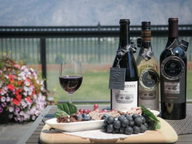 vignoble verre de vin rouge avec 3 bouteilles de vin gagnantes de prix avec plat de raisins et amuses-bouche bordertown vineyards and estate winery osoyoos colombie britannique canada ulocal produits locaux achat local produits du terroir locavore touriste