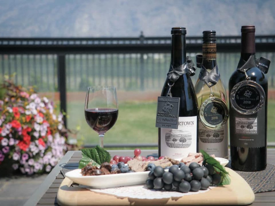 vineyard glass of red wine with 3 bottles of wine winning prizes with grapes and appetizersbordertown vineyards and estate winery osoyoos british colombia canada ulocal local products local purchase local produce locavore tourist