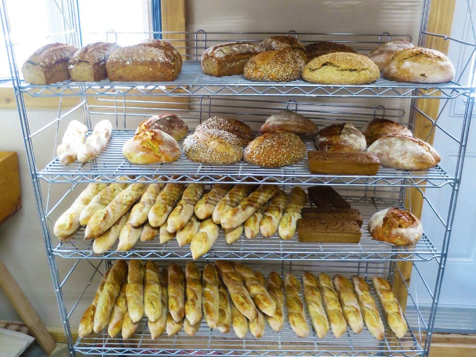 artisan bakeries variety of breads on a shelf boulangerie du capitaine levain stanbridge east quebec canada ulocal local products local purchase local produce locavore tourist