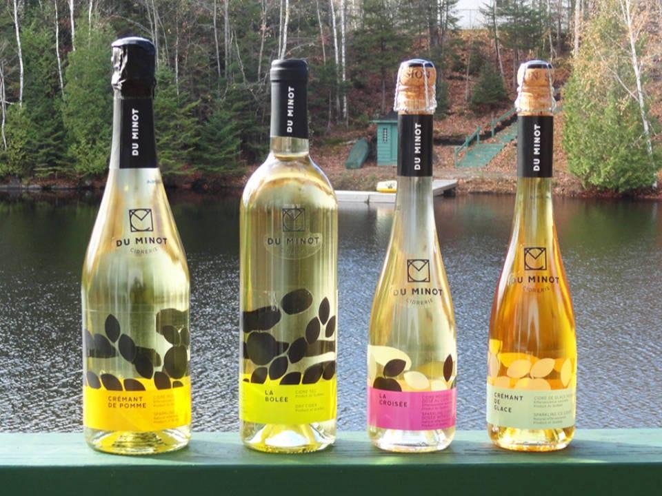 vignoble 4 bouteilles de différentes variétés de cidre avec lac en arrière-plan cidrerie du minot hemmingford québec canada ulocal produits locaux achat local produits du terroir locavore touriste