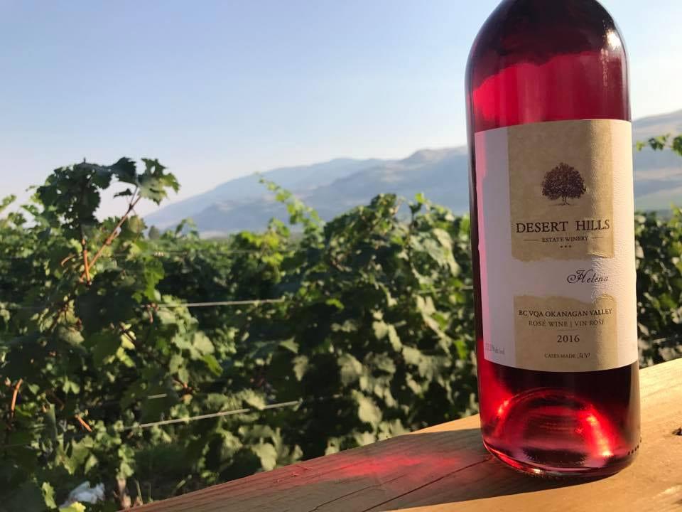 vignoble bouteille de vin rosé avec vignoble en arrière-plan desert hills estate winery oliver colombie britannique canada ulocal produits locaux achat local produits du terroir locavore touriste