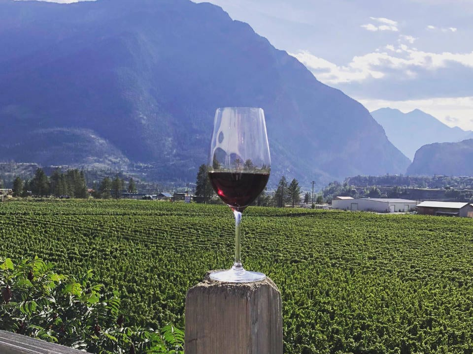 vineyard glass of red wine on a fence post with vineyard in the background fort berens estate winery lillooet british colombia canada ulocal local products local purchase local produce locavore tourist