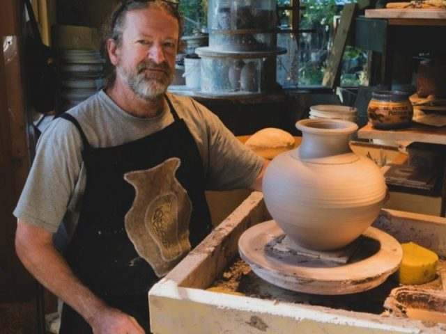 artisans ronald pothier creating a pot on the tower in his studio le potier pothier havelock quebec canada ulocal local products local purchase local produce locavore tourist