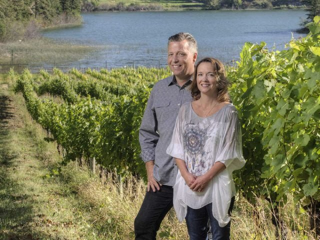 vineyard daniel and christy bibby a couple owner of the vineyard in the vineyards nighthawk vineyards okanagan falls british colombia canada ulocal local products local purchase local produce locavore tourist
