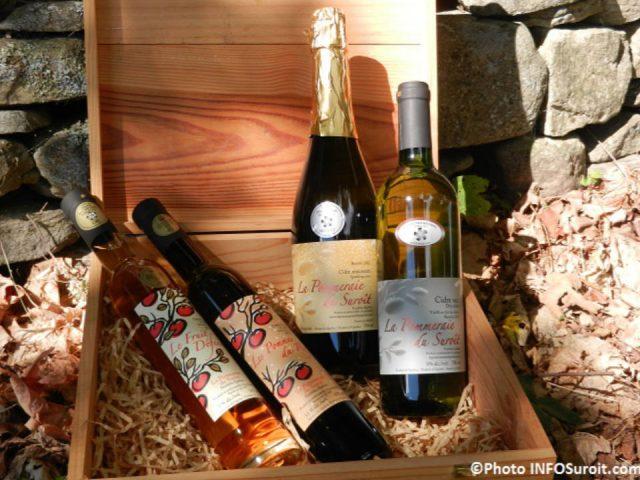 alcool coffret de 4 bouteilles de cidres variés cidrerie la pommeraie du suroît franklin québec canada ulocal produits locaux achat local produits du terroir locavore touriste