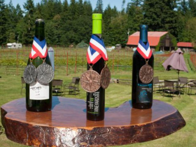 vineyard 3 bottles of wine that have won prizes southend farm winery quadra island british colombia canada ulocal local products local purchase local produce locavore tourist