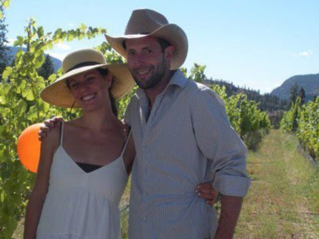 vineyard owner couple in the vineyardsynchromesh wines okanagan falls british colombia canada ulocal local products local purchase local produce locavore tourist